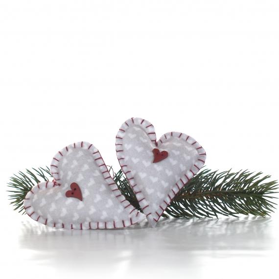 Julehjerte til ophæng med hjerteknap